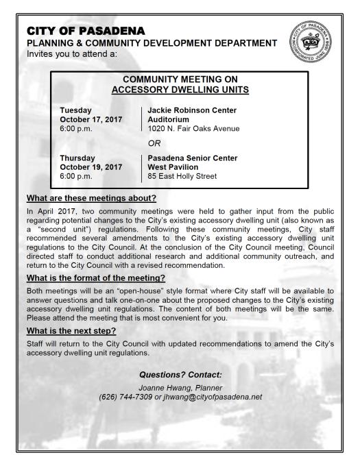 Pasadena ADU Ordinance Update Community Meeting